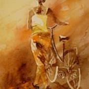 Watercolor With My Bike Print by Pol Ledent