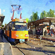 Watercolour Painting Of A Tram In Germany Art Print