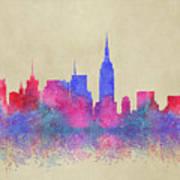 Watercolour Splashes New York City Skylines Art Print