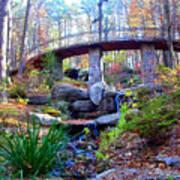 Waterfall And A Bridge In The Fall Art Print