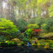 Waterfall At Lower Pond In Japanese Garden Art Print