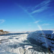 Waterfall Gullfoss In Winter Iceland Europe Art Print