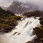 Waterfall In Norweigian Mountain Landscape Art Print