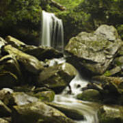 Waterfall In The Spring Print by Andrew Soundarajan