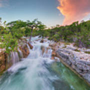 Waterfall In The Texas Hill Country 3 Art Print