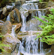 Waterfall In The Vandusen Botanical Garden 1 Art Print