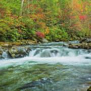 Waterfall On Little Pigeon River Smoky Mountains Art Print