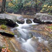 Waterfalls At Roaring River Stone Mountain Art Print