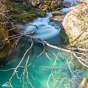 Waterfalls In The Nature Reserve Urederra Art Print
