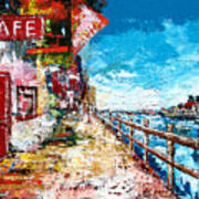 Waterfront Cafe Art Print