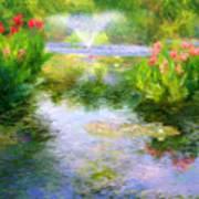Watergarden In Monet Style Print by Crystal Garner