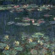 Waterlilies Green Reflections Art Print