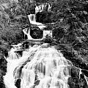 Water Slide Waterfall Bw Art Print