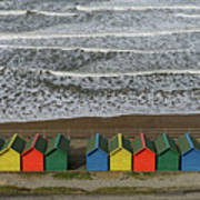 Waves And Beach Huts - Whitby Art Print