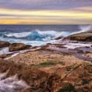 Waves Breaking Up On Rocks In Sydney Australia Art Print