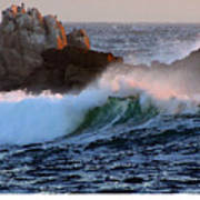 Waves Crash Against The Rocks Art Print