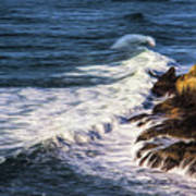 Waves Rocks And Birds Art Print