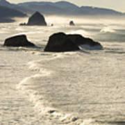 Waves Roll Ashore On The Oregon Coast Art Print