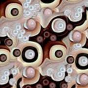 Waves Seashells Foam And Stones In Brown Art Print