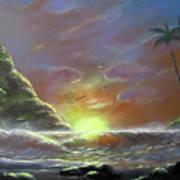 Waves Through The Sunset Art Print