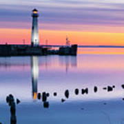 Wawatam Lighthouse In Colorful Predawn Light Art Print