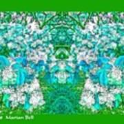 Waxleaf Privet Blooms In Aqua Hue Abstract With Green Frame Art Print