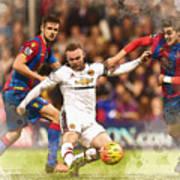 Wayne Rooney Shoots At Goal Art Print