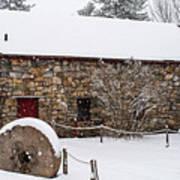Wayside Inn Grist Mill Covered In Snow Millstone Art Print