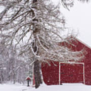 Wayside Inn Red Barn Covered In Snow Storm Reflection Art Print