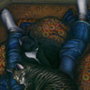 We 3 Nap With My Cats Art Print