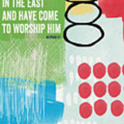 We Come To Worship- Contemporary Christmas Card By Linda Woods Art Print