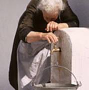 Weary Elderly Woman In Greece Art Print
