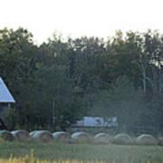 Weathered Barn And Hay Bales  Art Print