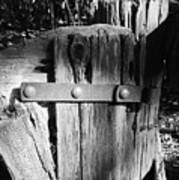 Weathered Fence In Black And White Art Print