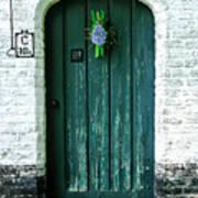 Weathered Green Door Art Print