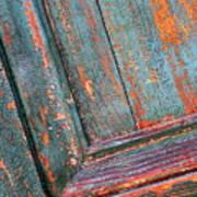 Weathered Orange And Turquoise Door Art Print