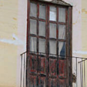 Weathered Red Door On A Balcony Art Print