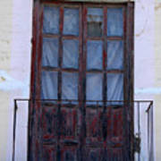 Weathered Red Wood Door Art Print