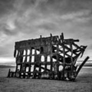 Weathered Rusting Shipwreck In Black And White Art Print