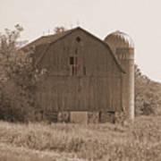 Weathered Wisconsin Barn In Sepia Art Print