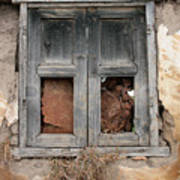 Weathered Wood Window Art Print