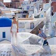 Wedding At Santorini Art Print