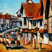 Wedding Day In Lavenham-suffolk-england - Palette Knife Oil Painting On Canvas By Leonid Afremov Art Print