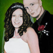 Wedding Portrait Of Clint And Ashley Art Print