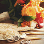 Wedding Ring With Bouquet On Velvet  Art Print by Sandra Cunningham