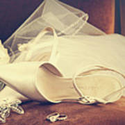 Wedding Shoes With Veil On Velvet Chair Print by Sandra Cunningham