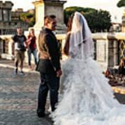 Wedding Stroll On The Ponte Sant'angelo Art Print