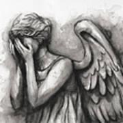 Weeping Angel Watercolor Art Print