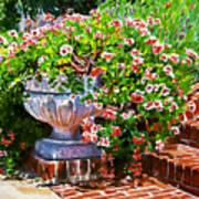 Welcome Flower Urn Steps Art Print