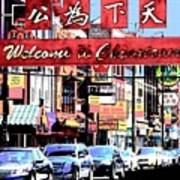 Welcome To Chinatown Sign Red Art Print